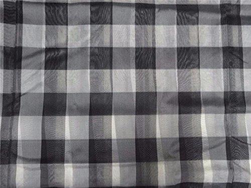 Puresilks Seidenorganza, kariert, Grau, Schwarz und Elfenbeinfarben, 111,8 cm breit