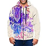 AllPrintInUSA Ganesh Ganesha Men's Full Zip Up Hooded Sweatshirt Hoodie Black