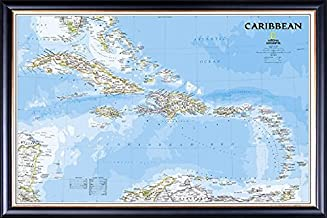 Framed Caribbean Islands Map Perfect for Push Pins in Executive Black Wood Frame With Gold Lip - Crafted in USA
