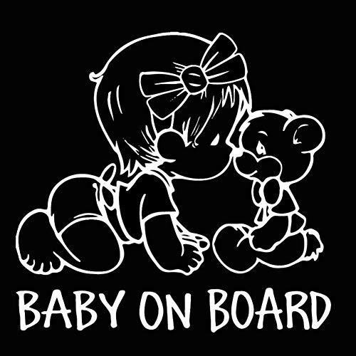 EROSPA® Auto-Aufkleber KFZ - Baby On Board - Mädchen mit Teddy - Car-Sticker (Silber)