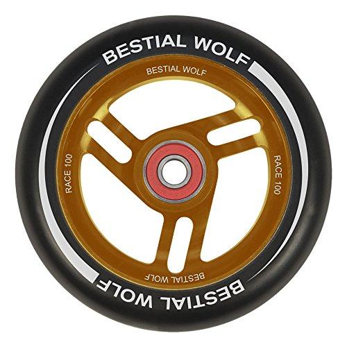 BESTIAL WOLF Rueda Race PU Color Negro y Core Naranja, Diámetro 100 mm