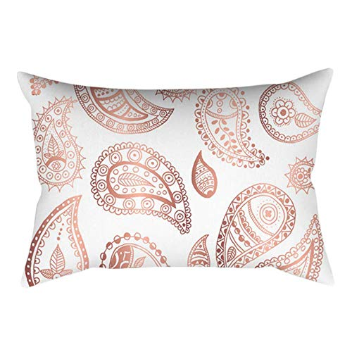 ZHANGDA Peach Skin Cushion Cover Rose Gold Pink Flowers Flamingo Letters Abstract Pattern Home Decor Sofa Decorative Pillowcases 30X50,E,30Cmx50Cm