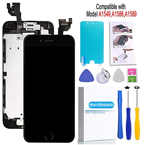Screen Replacement Compatible iPhone 6 Black 4.7(inch) LCD Display Touch Digitizer Assembly Repair Kit & Home Button,Ear Speaker, Front Camera,Proximity Sensor ,Repair Tools
