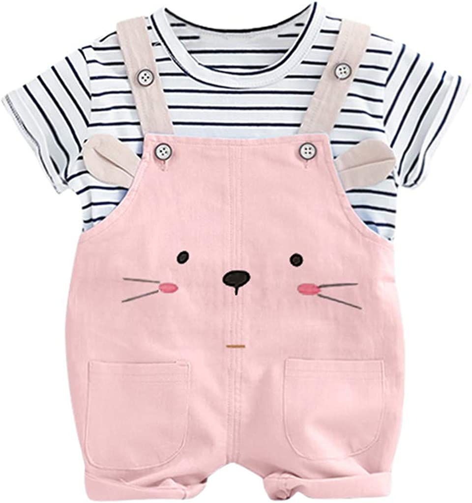 Cuekondy Infant Toddler Baby Boys Girls Short Sleeve Stripe Tops T-Shirt+Cute Bear Cat Overall Pants Summer Outfits