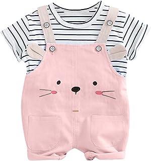 Niña Verano 3 a 24 Meses - 2Pc/Raya Tops + Gato En General Pantalones Conjunto de Ropa Recien Nacido