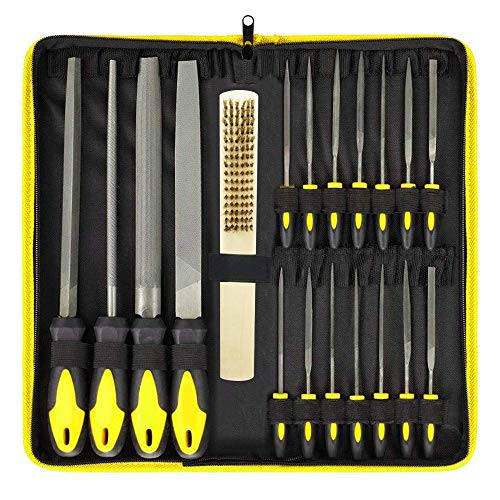 18Pcs File Set, Round and Flat File Kits are Made of Precision Grade High Carbon-Steel, 4 Flat/Half-Round/Round/Triangle Files Tool, 14 Needle Files Set for Woodwork Metal Model Hobby Applications