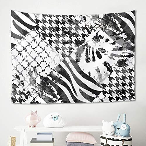 Gamoii Tapiz de pared blanco y negro, diseño de pata de gallo de tartán, para picnic, playa, yoga, meditación, decoración de pared, sofá, color blanco, 200 x 150 cm