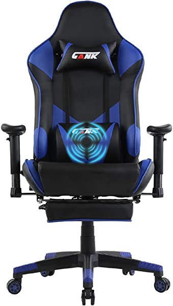 GANK Gaming Chair Large Size Racing Office Computer Chair High Back PU Leather Swivel Chair With Adjustable Massage Lumbar Support And Footrest Blue