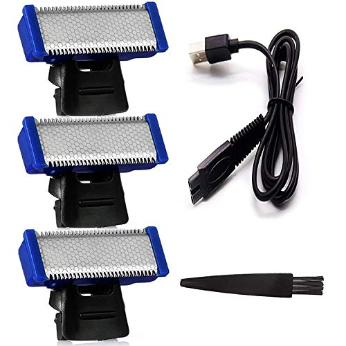 Replacement Head for Old Version of Microtouch Solo Mens Shaver Electric Micro Trimmer (3 Razor Blade & 1 Clean Brush & 1 USB Charger Cable)