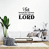 Adhesivo de pared de PVC extraíble con texto en inglés 'Set Your Heart and Soul to Seek The Lord', decoración de fondo para el hogar, sala de estar, cocina