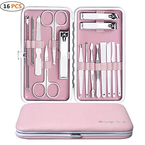 Set van 16 nagelknippers, borlterklemmen, nagelverzorgingsset van roestvrij staal, professionele manicure- en pedicureset, inclusief opbergdoos 15,7 x 8,4 cm roze