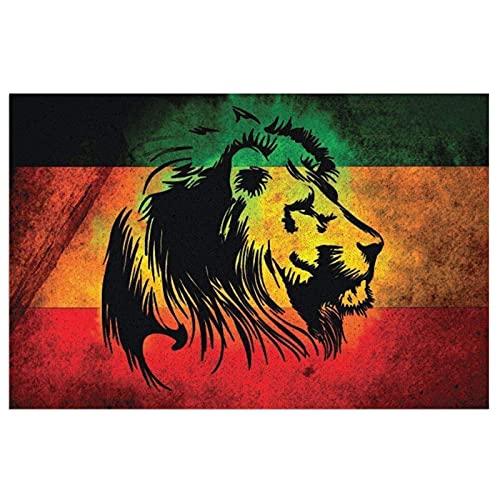 FFLSDR Felpudo Alfombra de Entrada Antideslizante Alfombra Rasta Lion Jamaica Estilo Reggae Bienvenido PVC Entrada Patio Pad 40X60CM