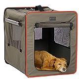 Petsfit Dog Crates, Lightweight Dog Travel Crate for Car,Foldable Soft Medium Dog Crates with Fleece Mat and Food Pockets,Soft Dog Crate , 60cm x 45cm x 53cm, Medium, Light Grey