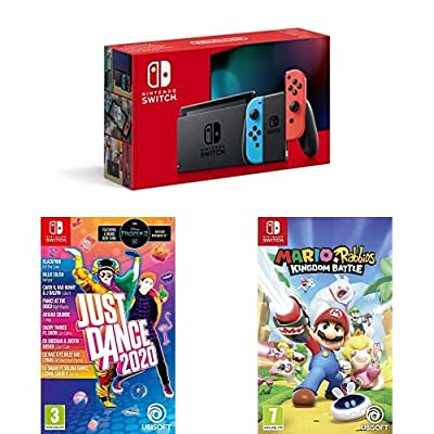 Nintendo Switch Neon (Red/Blue) + Just Dance 2020 + Mario Rabbids Kingdom Battle from