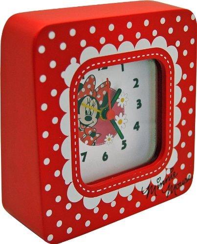 Disney Minnie wekker analoog van hout in geschenkverpakking 15x4,5x13 cm 91012