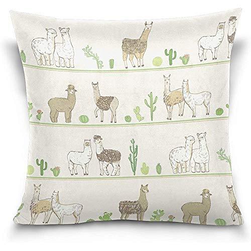 QDAS kussensloop met ritssluiting voor sierkussens van katoen alpaca groen cactus en camel groen Deserto