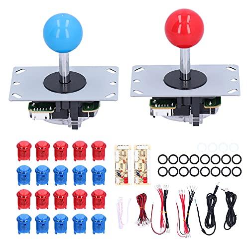 Juego De Bricolaje De Juegos De Arcade Led, Juego De Arcade De 2 Jugadores, Kits De Bricolaje Azul Rojo, Botones Pulsadores Iluminados con LED, Codificador USB para Juegos De PC de 5 V(Rojo + Azul)
