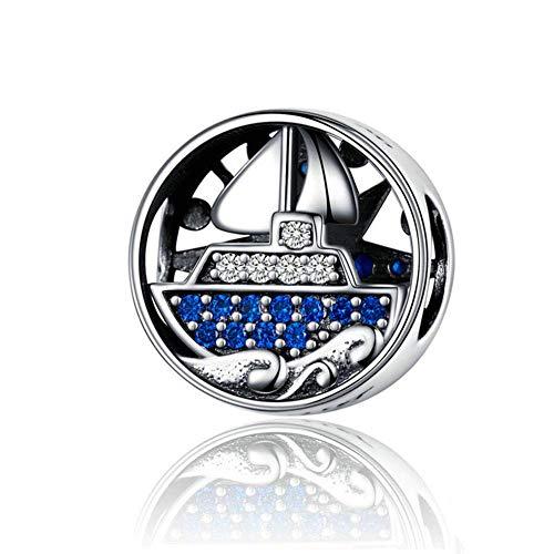 Ciondolo a forma di ancora oceano, in argento Sterling 925, per braccialetti o collane, regalo di compleanno o Halloween e Argento, colore: A, cod. S1197