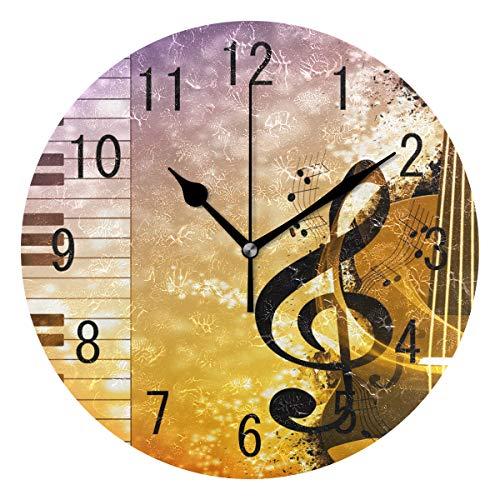 use7Home Decor Abstrakt Musik Note Piano Acryl, rund Wanduhr Geräuschlos Silent Uhr Kunst für Wohnzimmer Küche Schlafzimmer