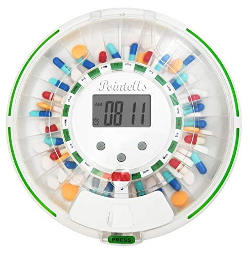 Pointells Automated Pill Dispenser – 28-Day Electronic Medication Planner and Organizer Machine – Includes Flashing Light, Alarm and Safety Lock – Dispense Vitamins and Tablets Up 6 Times Daily