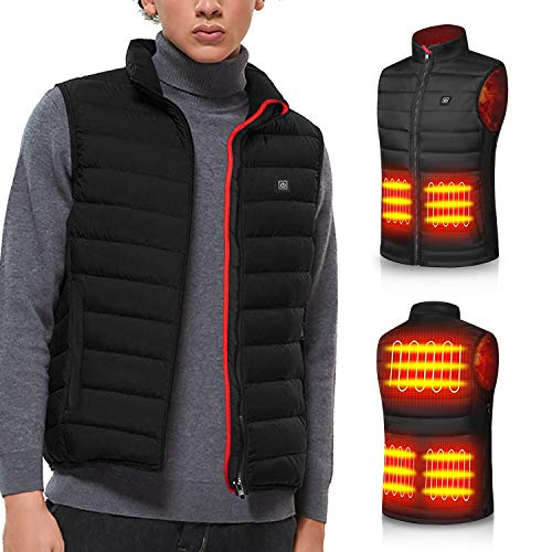 Heated Vest for Man Electric Heating Coat Jacket Warm Clothing for Winter(No Battery) (XL) Black