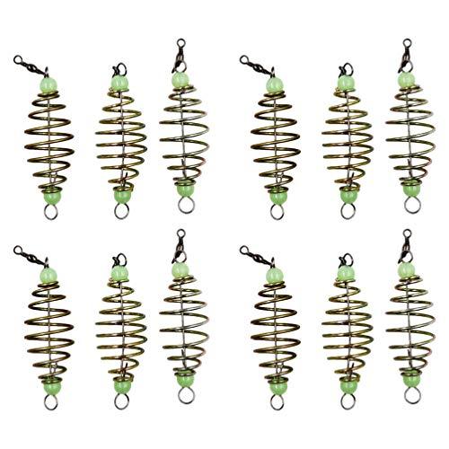 VOSAREA 12 Stücke Futterkorb Angeln Köder Käfig Trap mit Leuchtende Perlen Feederkorb Metall Käfig Form Futterspirale Angelzubehör Feeder Korb für Fischteich Karpfenangeln Zubehör