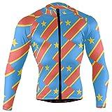 Kongo Kinshasa Flagge Herren Langarm Radtrikot Fahrradjacke Taschen Full Zip Bike Biking Shirts Gr. L, multi