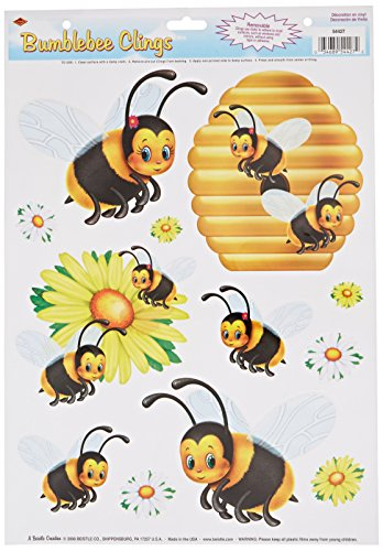 Beistle Bumblebee Clings 1 Sheet Spring and Summer Window Decorations, 12' x 17', Black/Yellow/White/Orange