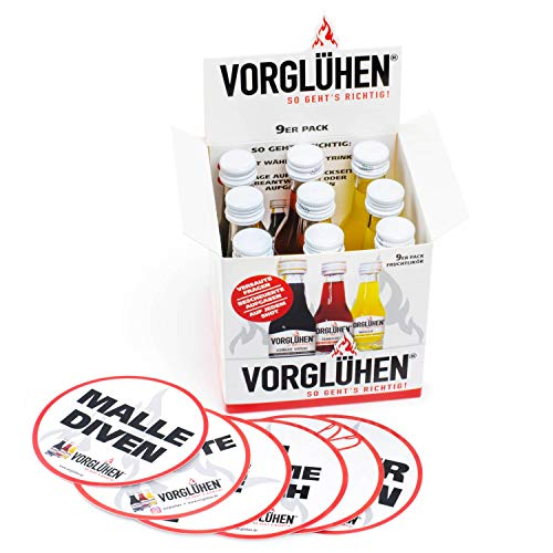 VORGLÜHEN SO GEHT'S RICHTIG 9er Pack Shots 0,02l in 3 Sorten, Partyschnaps Maracuja, Cranberry, Schwarzkirsche, Klopfer, Likör