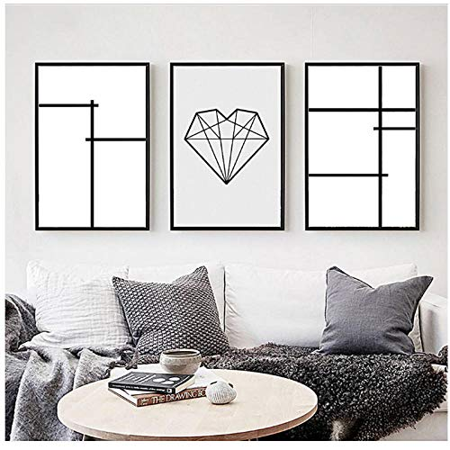 xwwnzdq 3 stuks linnen geometrische blokken schilderijen op doek en poster voor woonkamer 50 x 70 x 3 cm zonder lijst