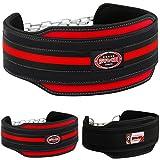 Farabi Nyo - Cinturón para Levantamiento de Pesas, con Cadena de Acero para Colgar, Color Negro y Rojo