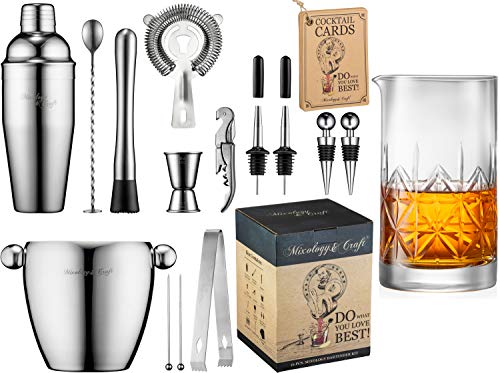 16-Piece Bartender Kit and Crystal Mixing Glass