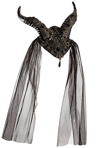 Forum Novelties Demon Horns Fascinator Hair Clip with Lace and Gemstones, Multicolor