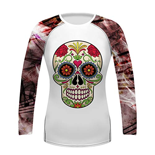 O2TEE Women's Floral Sugar Skull Wicking Cycling Jersey Breathable Bike Shirt Tops, X-Large