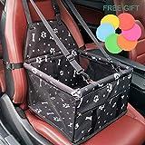 Siège d'appoint de voiture pour le chien, HomeYoo Housse de transport pour animal domestique avec ceinture de sécurité - Sac étanche, tapis de coussin de voiture pour chien et chat (Noir)