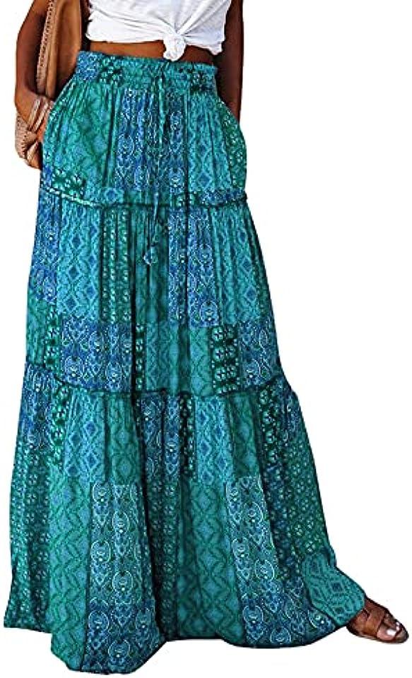 Womens Floral Print Maxi Skirt High Waist Summer Dresses