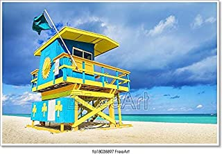 Barewalls Lifeguard Tower, Miami Beach, Florida Paper Print Wall Art (36in. x 54in.)