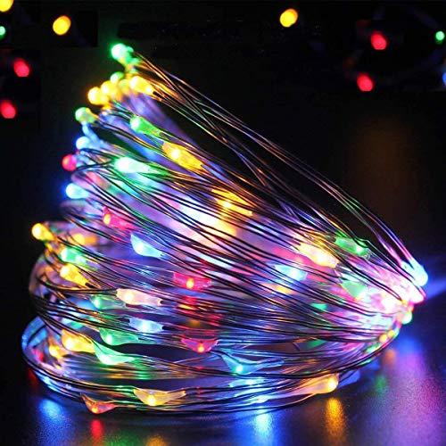 AVNICUD Luci LED, Catena Luminosa, Luci di natale da Esterno, IP67 Impermeabile, Lucine LED Decorative per Camere, Decorazioni Natalizie, Matrimonio, Giardino, Con Telecomando (33FT 100LED)