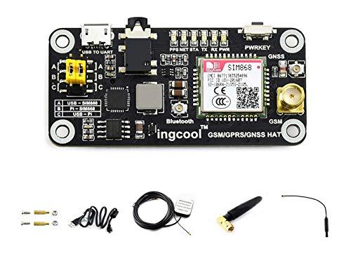 Ingcool GSM/GPRS/GNSS Bluetooth HAT Erweiterungs Board für Raspberry Pi 4B/3B+/3B/2B/Zero W/Zero, Basierend auf SIM868 Modul, Unterstützt SMS, Telefonanruf, Globale Position, Datenübertragung usw.