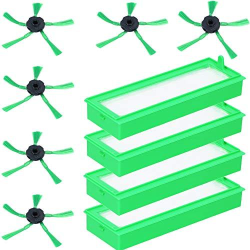 McFilter Juego de 10 piezas de repuesto para robot aspirador Vorwerk Kobold VR200 / VR300, 4 filtros finos y 6 cepillos laterales