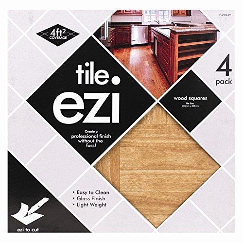 Stalwart f-20249- Piastrelle adesive, effetto legno (confezione da 4)