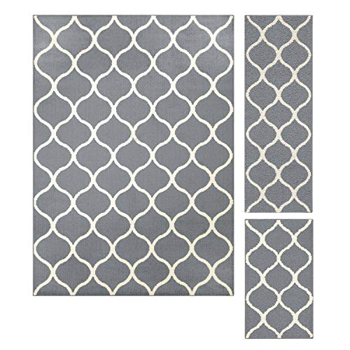 Maples Rugs Rebecca Contemporary Area Rugs Set for Living Room & Bedroom [Made in USA], 3pc, Grey/White