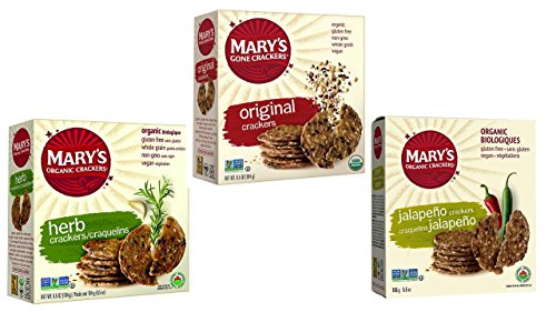 Marys Gone Crackers Organic Crackers 3 Flavor Variety Bundle, (1) each: Herb, Original, Jalapeno (5.5-6.5 Ounces)