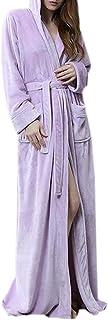 FRPE Womens Loungewear Flannel Winter Hoodie Bathrobe Nightgown Pajama Spa Robe