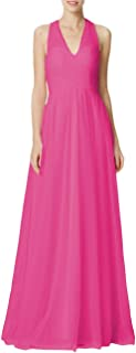 Bridesmaid Dresses Long Halter Evening Gowns Wedding Party Prom Dress Maxi Tulle V-Neck Pleating