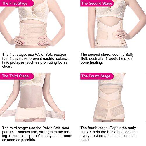 Yosoo 3 in 1 Breathable Elastic Postpartum Support - Recover Belly/waist/pelvis Belt Sharper Support Girdle Belt Post Pregnancy Belly Waist Slimming Shaper Wrapper Band Abdomen Abdominal Binder Belt f