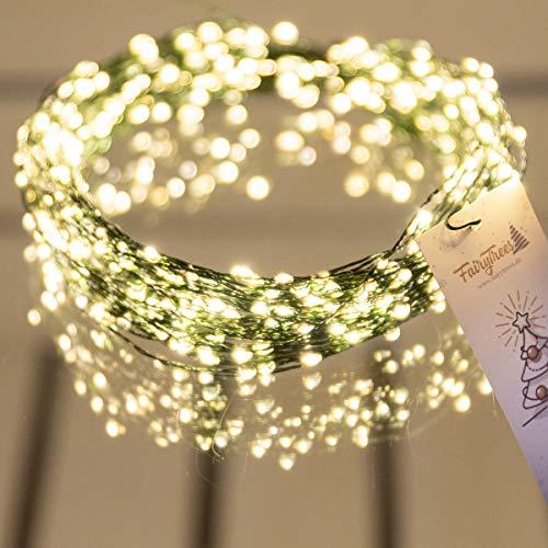 FairyTrees Luci LED per albero di Natale, diodi LED FairyGlow 400, colore della luce (2700 K), (bianco caldo), filo di rame verde da 20 m, (IP44) FG400