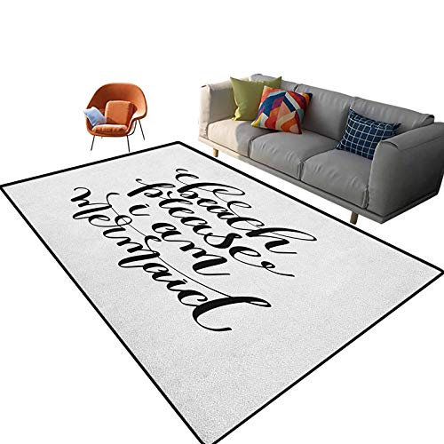 Im Mermaid Outdoor Patio Rug Calligraphic Design Cool Font Mermaid Theme Supportive Quote One Color Pattern Kids Room Dorm Nursery Home Holiday Decor Floor Carpet 4'x 5.3'
