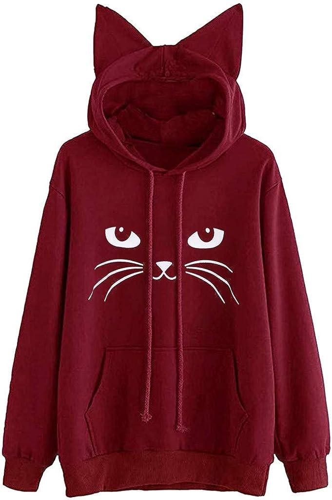 Girls' Hoodie, Misaky Pullover Sweatshirt Casual Cute Cat Print Long Sleeve Drawstring Cat Ear Hooded Blouse