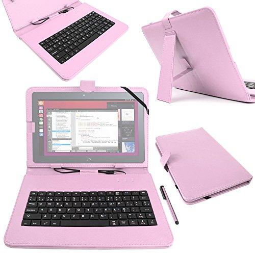 DURAGADGET Funda/Teclado ESPAÑOL Rosa 10.1' para la Tablet BQ Aquaris M10 Ubuntu Edition 10.1' | HD | Full HD - Conexión MicroUSB + Lápiz Stylus
